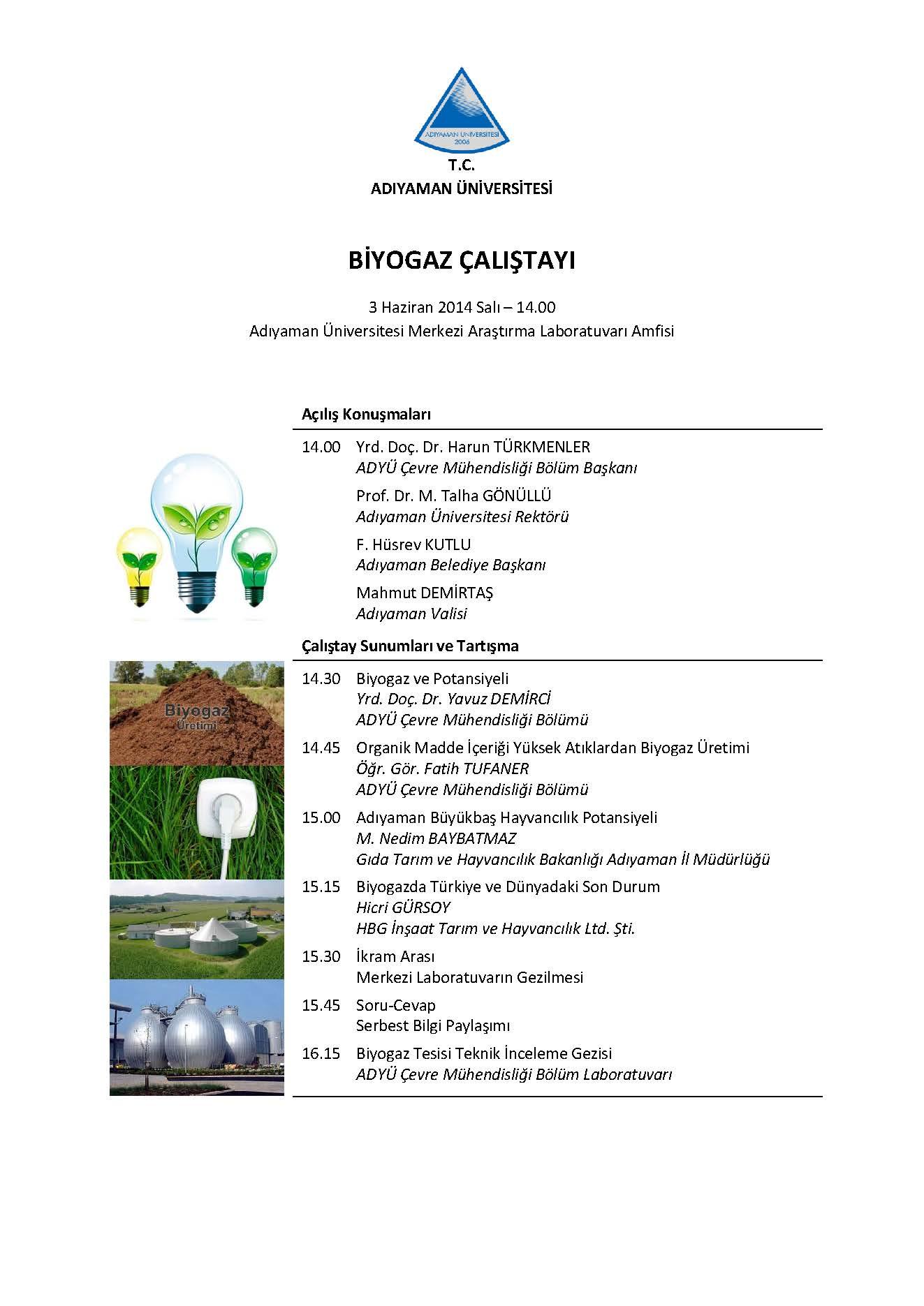 Biyogaz Çalıştay Programı